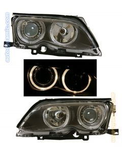 BMW 3-Series E46 Sedan 02-05 Black Housing Dual Angel Eye Projector Headlights