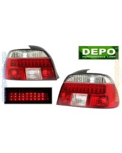 BMW 5-Series E39 96-00 Red and Clear Tail Lights with LED