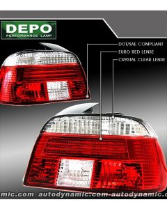 BMW 5-Series E39 97-00 Red and Clear Tail Lights
