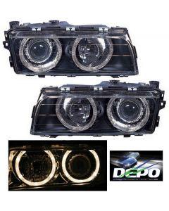 BMW 7-SERIES (740I/740IL) 95-98 HEAD LIGHTS XENON PROJECTOR BLACK W/ANGEL EYES