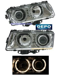 BMW 7-SERIES (740I/740IL) 95-98 HEAD LIGHTS HALOGEN PROJECTOR CHROME W/ANGEL EYES