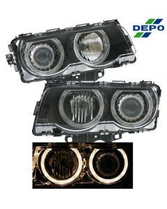 BMW 7-SERIES 99-01 HEAD LIGHTS XENON PROJECTOR BLACK W/ANGEL EYES