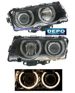 BMW 7-SERIES 99-01 HEAD LIGHTS HALOGEN PROJECTOR BLACK W/ANGEL EYES