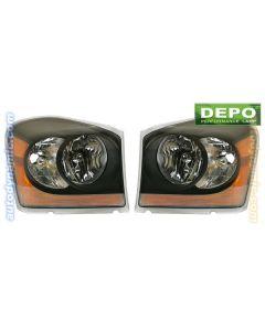 DODGE DURANGO 06 HEAD LIGHTS BLACK BEZEL