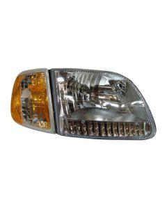 FORD F150 P/U TO 7/96 HEAD LIGHTS (W/BRACKET) DIAMOND DESIGN W/CORNER