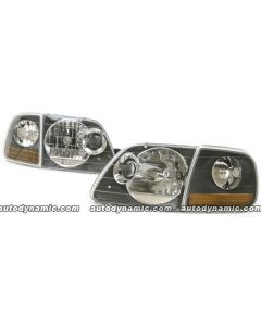 FORD F150/250 LD/HD FROM 7/96-03 / EXPEDITION 97-02 HEAD LIGHTS PROJECTOR W/PARK LAMP BLACK BEZEL
