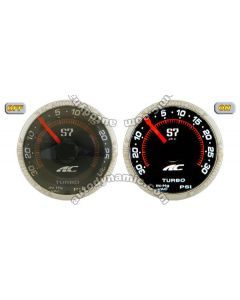 AC S7 Titanium Series Turbo Boost Auto Gauge/Meter 52mm with Black Face Trim