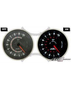 AC S7 Titan Series Black Face Clear Lens- 60mm 10,000 RPM Tachometer Gauge/Meter
