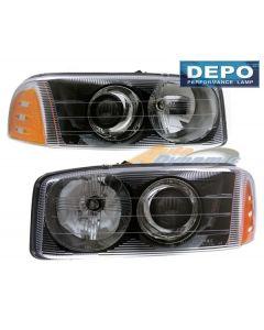 GMC YUKON XL DENALI 01-06 / SIERRA C3 99-02 / SIERRA DENALI 99-06 PROJECTOR HEAD LIGHTS BLACK