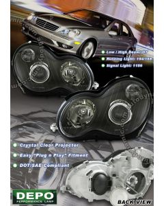 Mercedes Benz C-Class W203 Chasis 2001-2007 Projector Headlights in Black Housing