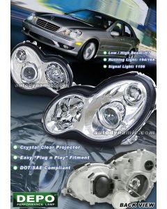 Mercedes Benz C-Class 2001-2007 Projector Headlights in Chrome Housing