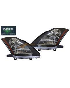 NISSAN 350Z 03-05 HEAD LIGHTS HALOGEN TYPE OE STYLE BLACK BEZEL