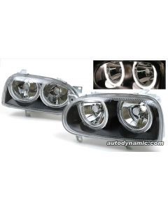 Volkswagen Golf III 93-99 Black Housing Headlights with Dual Angel Rings