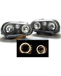 Volkswagen Golf IV / GTI / Cabrio 99-04 Black Housing Projector Headlights with Dual Angel Eyes and Fog Lights