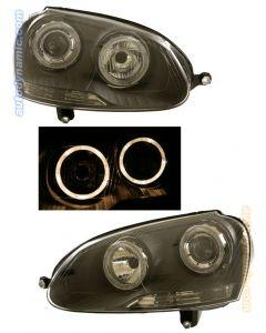 Volkswagen Golf / Jetta V 06-07 Black Housing Projector Headlights Dual Angel Eyes
