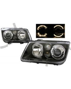 Volkswagen Jetta 99-05 Projector Headlight with Dual Angel Eyes in Black Housing with Fog Light