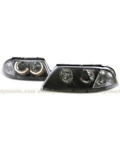 Volkswagen Passat 01-05 Black Housing Projector Headlamps with Dual Halo
