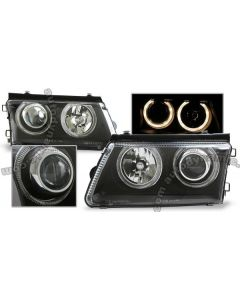 Volkswagen Passat Late 97-00 B5 Black Housing Projector with Dual Halo Headlamps